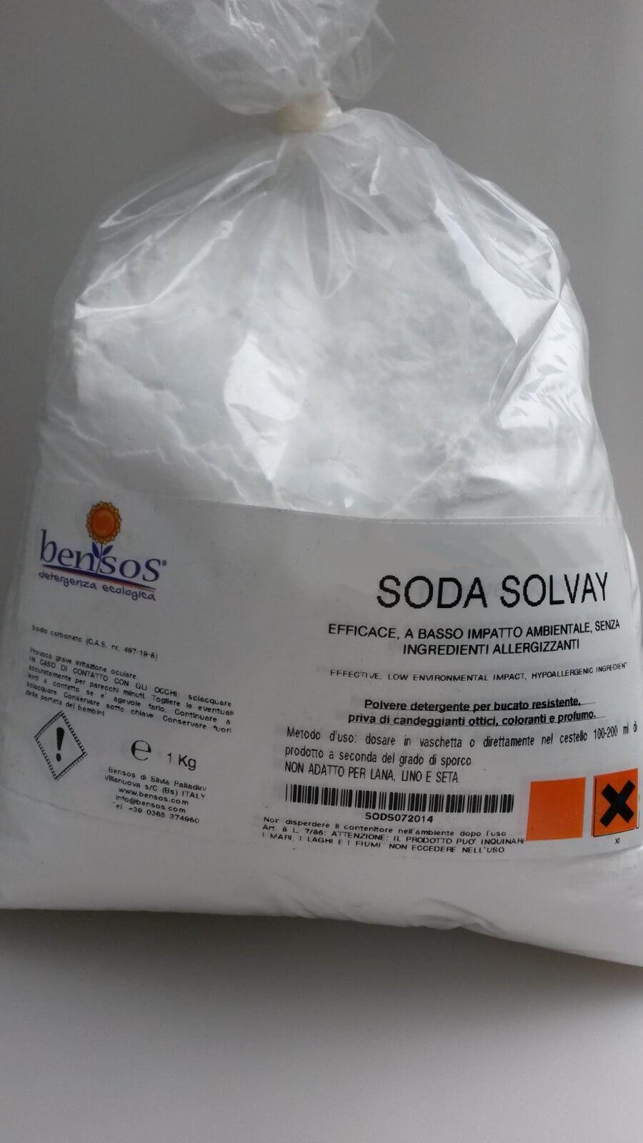 Soda Solvay polvere detergente alcalina